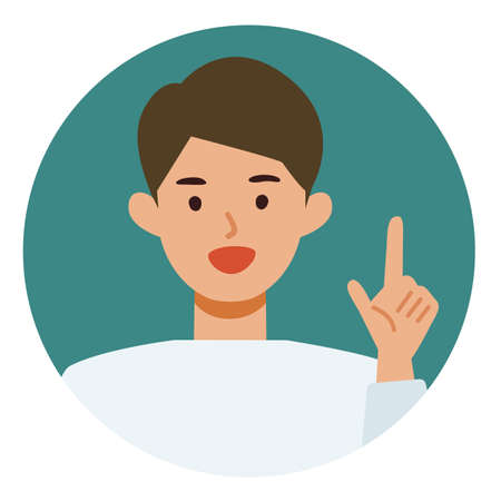 Man cartoon character. People face profiles avatars and icons. Close up image of pointing man. Vector flat illustration.