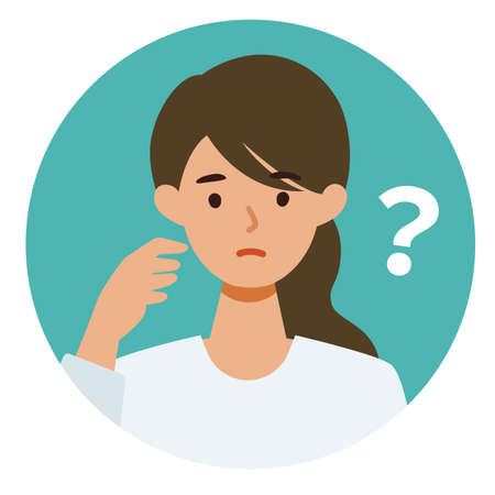 Woman cartoon character. People face profiles avatars and icons. Close up image of asking Woman. Vector flat illustration. Illusztráció