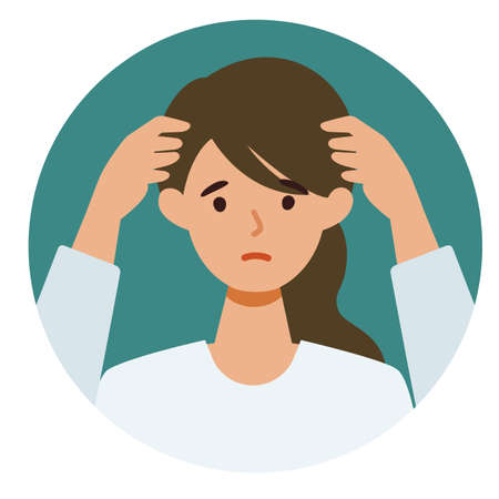 Woman cartoon character. People face profiles avatars and icons. Close up image of confused Woman. Vector flat illustration.