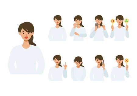 Woman cartoon character head collection set. People face profiles avatars and icons. Close up image of smiling Woman. Vector flat illustration. Illusztráció