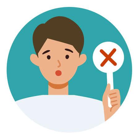 Man cartoon character. People face profiles avatars and icons. Close up image of man having warning expression . Vector flat illustration.