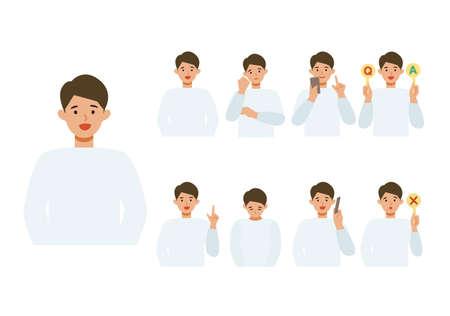 Man cartoon character head collection set. People face profiles avatars and icons. Close up image of smiling man. Vector flat illustration. Illusztráció