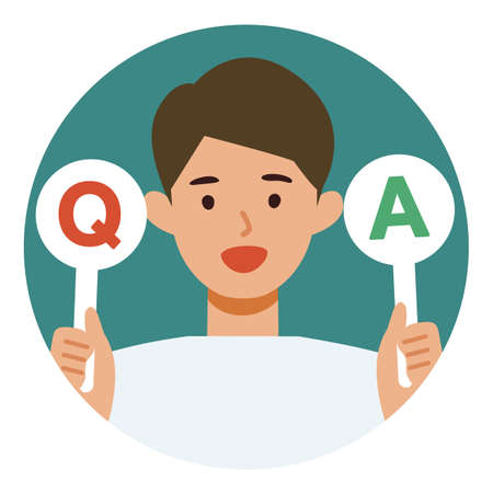 Man cartoon character. People face profiles avatars and icons. Concept for Q&A. Vector flat illustration.