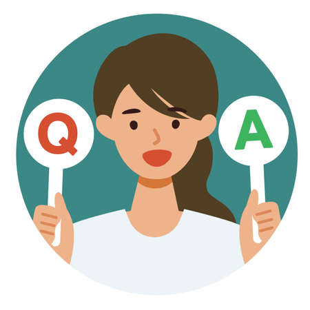 Woman cartoon character. People face profiles avatars and icons. Concept for Q&A. Vector flat illustration.