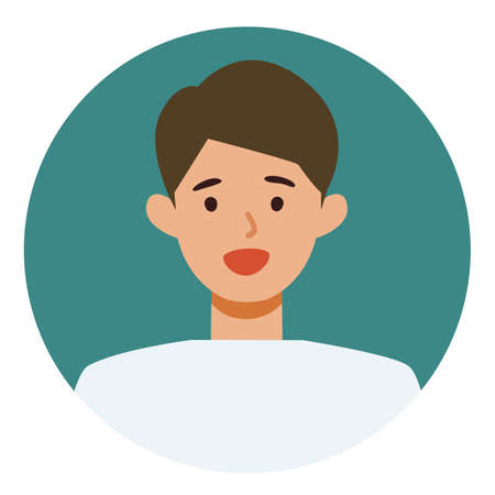 Man cartoon character. People face profiles avatars and icons. Close up image of smiling man. Vector flat illustration.
