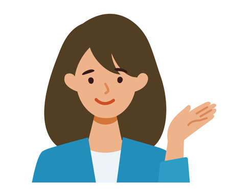 BusinessWoman cartoon character. People face profiles avatars and icons. Close up image of pointing Woman. Vector flat illustration.