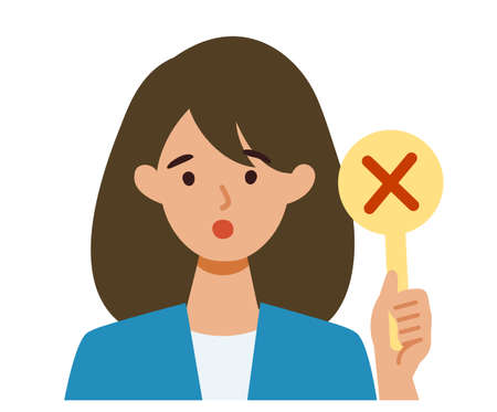 BusinessWoman cartoon character. People face profiles avatars and icons. Close up image of Woman having warning expression . Vector flat illustration. Illusztráció