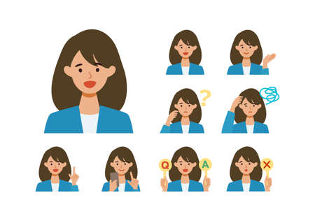 BusinessWoman cartoon character head collection set. People face profiles avatars and icons. Close up image of smiling Woman. Vector flat illustration.