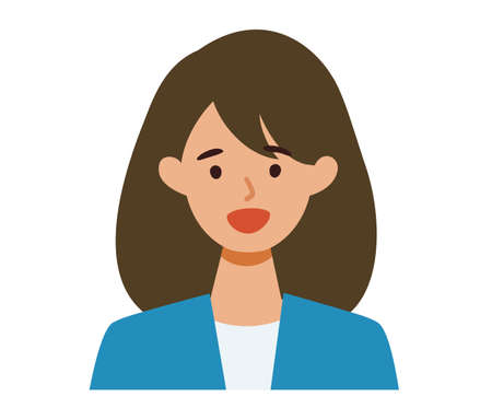 BusinessWoman cartoon character. People face profiles avatars and icons. Close up image of smiling Woman. Vector flat illustration.