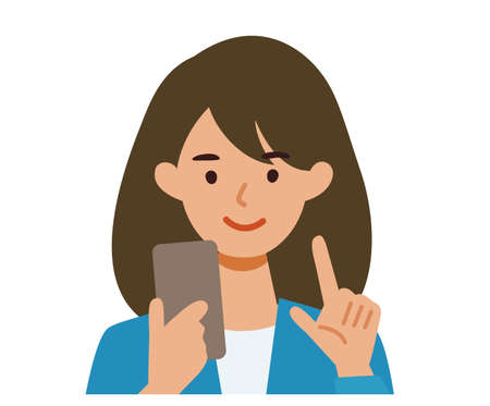BusinessWoman cartoon character. People face profiles avatars and icons. Close up image of Woman using smartphone. Vector flat illustration.