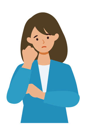 BusinessWoman cartoon character. People face profiles avatars and icons. Close up image of confused Woman. Vector flat illustration.