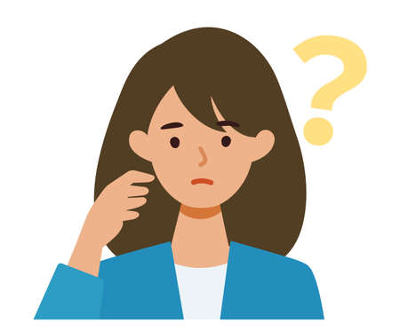 BusinessWoman cartoon character. People face profiles avatars and icons. Close up image of asking Woman. Vector flat illustration.