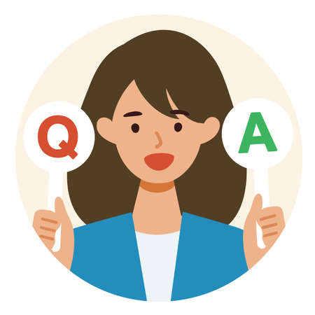 BusinessWoman cartoon character. People face profiles avatars and icons. Concept for Q&A. Vector flat illustration.