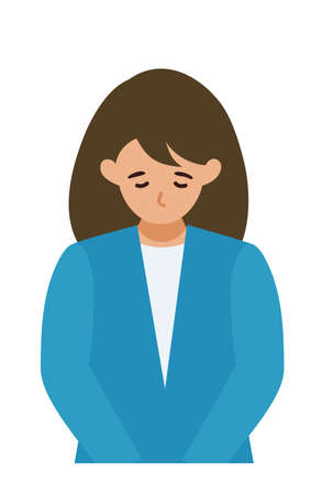 BusinessWoman cartoon character. People face profiles avatars and icons. Close up image of Woman taking a bow. Vector flat illustration. Illusztráció