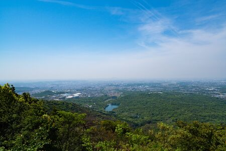 A view from the top of the mountain in japan