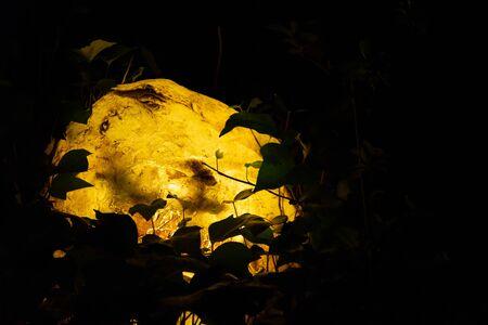 Stone objects shining at night