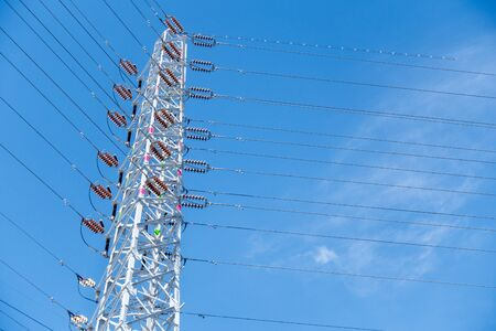 Photograph of steel tower. Image of electricity, lifeline, infrastructure Banque d'images - 130747168
