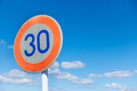 30km speed limit sign in Japan Stok Fotoğraf