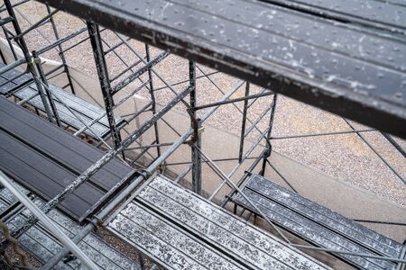A photo of the temporary scaffold. An image of a building site.