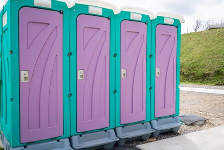 Photograph of temporary toilet installed outdoors Stok Fotoğraf