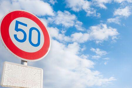 50km speed limit sign in Japan Stok Fotoğraf