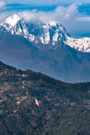 Amazing view of hills with beautiful mountains as background in Pokhara, Nepal.