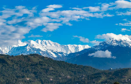 Beautiful lustrous mountain peaks of Nepal viewed from Pokhara during morning showing Mt. Fishtail or Machchapuchchre, Mt. Annapurna, Mt. Dhaulagiri and Mt. Himchuli.