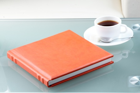 orange leather book photo