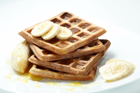 waffles in the dish and white background photo