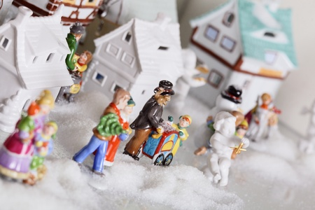 Toy city from porcelain new years objects photo
