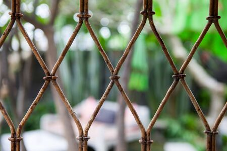 enclose: Background of old metal vintage grille or mesh in the summer sun the courtyard or cafe