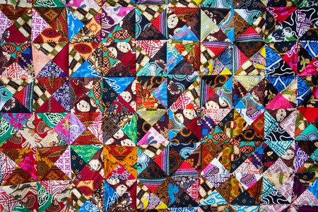 Quilt with distinct color abstract patterns, handmade domestic production, Bali Indonesia