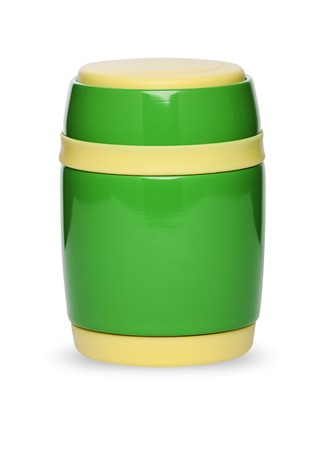 The thermos bottle in different colors, isolated on white background
