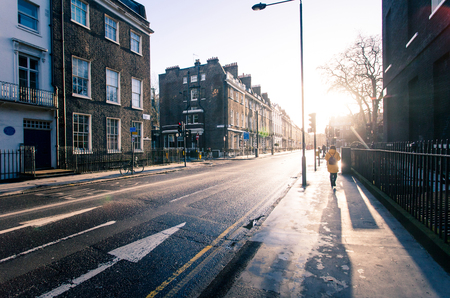 Sunny morning on the streets of old London in early spring