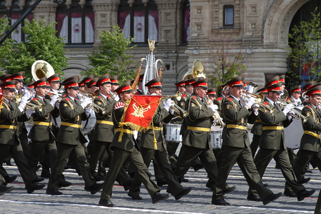 Moscow, Russia - may 09, 2008: celebration of Victory Day WWII parade on red square. Solemn passage of military equipment, flying planes and marching soldiers. Editorial