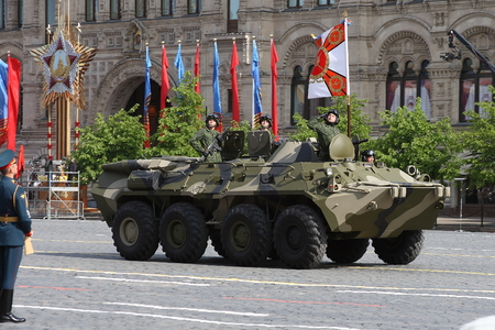 Moscow, Russia - may 09, 2008: celebration of Victory Day WWII parade on red square. Solemn passage of military equipment, flying planes and marching soldiers of various regiments and units.