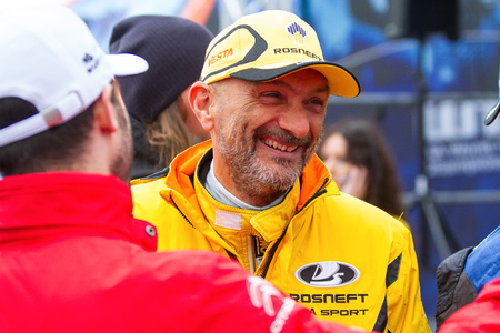 Moscow, Russia - 12 June 2016: world championship WTCC at the Moscow Raceway. Gabriele Tarquini team Lada Sport Rosneft greets fans