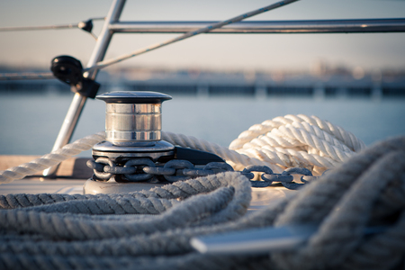 Windlass and mooring ropes on a sailing yacht