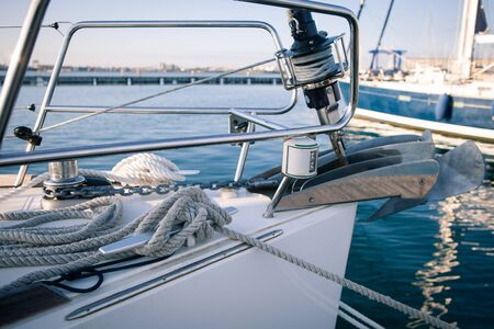 Yachting, sailing winch and ropes the front of the boat Stock Photo