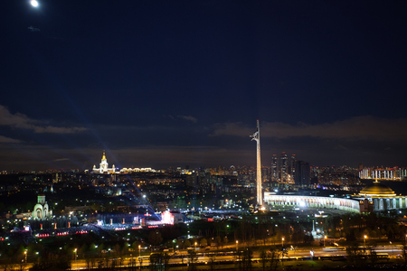 Panoramic view from the height Memorial complex on Poklonnaya Gora in Moscow at night