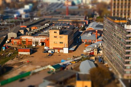 Panoramic view of the old industrial district of the city with tilt-shift effect in Moscow, Russia