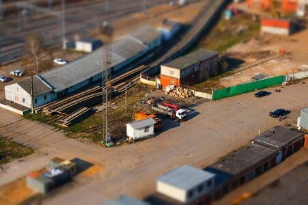 Panoramic view of the industrial area with the railway of the city with tilt-shift effect in Moscow, Russia 写真素材