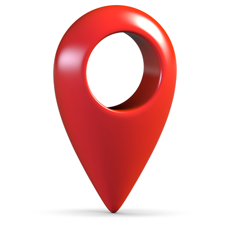 Red glossy 3d map geo pin on white background with shadow Banco de Imagens