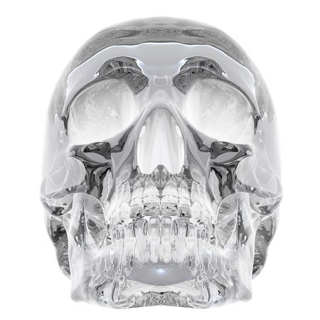 Illustrazione 3D del teschio di cristallo - isolato su sfondo bianco