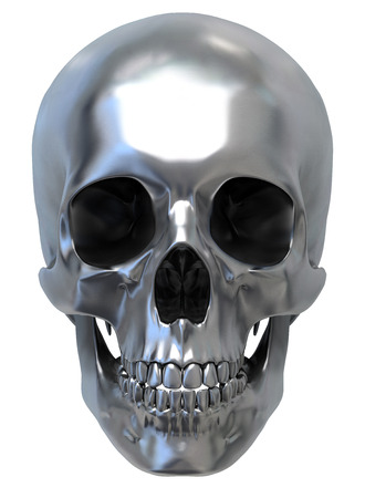 Metallic Human Skull on white background, front view