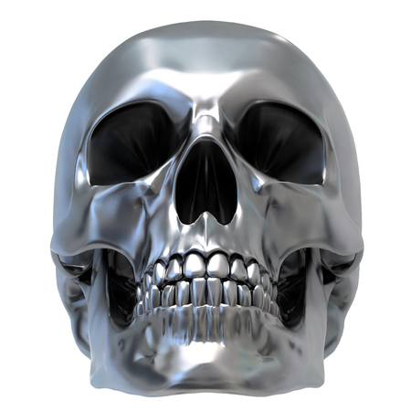 Metallic Human Skull on white background, front view