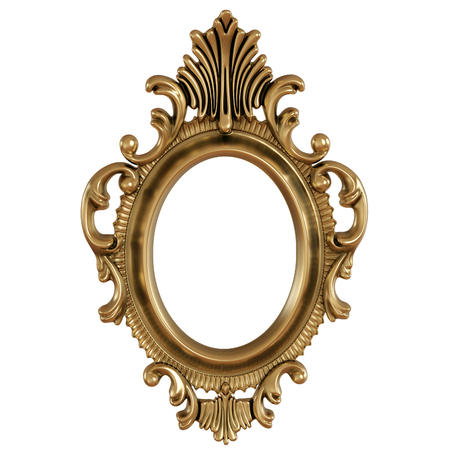 3D illustration of gold frame for painting or picture on white background Stock Photo