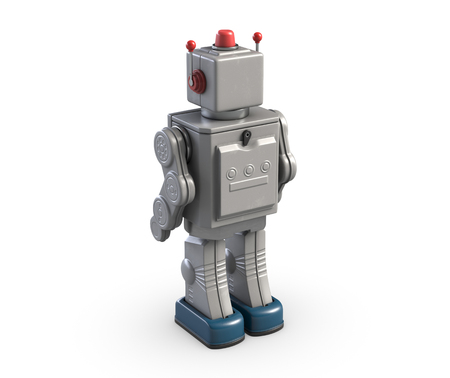 3d illustration of vintage robot toy isolated on white.