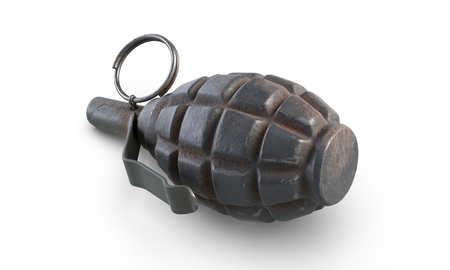 3D illustration of fragmentation grenade F-1 isolated on white background. Stock Photo
