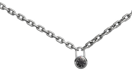 3d illustration of combination padlock on chain isolated on white